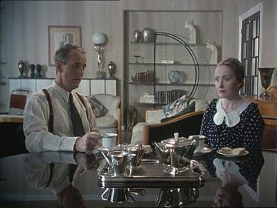Poirot's flat, living room, dining area, amazing Art Deco style