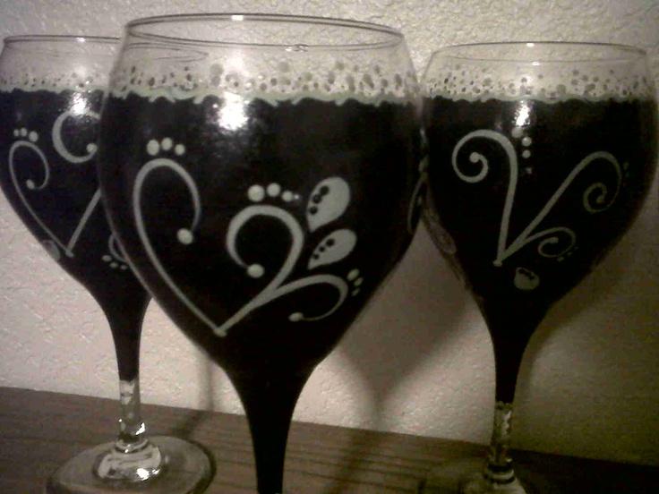 Hand Painted Wine Glass Black & Mint Swirl | hand painted ...