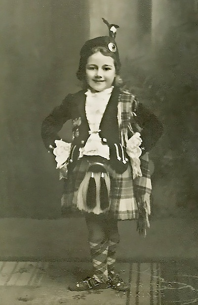 +~+~ Vintage Photograph ~+~+   Wee Highland Dancer ~ Mima Cooper.  Late 1930s in East Wemyss, Fife, Scotland