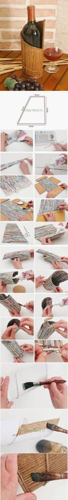 Make a Wine Stand From Newspaper That wine stand looks really elegant but it is made only from newspapers. The pages are cut, roll...