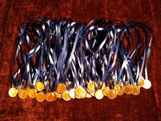 Gold coin chocolate medals