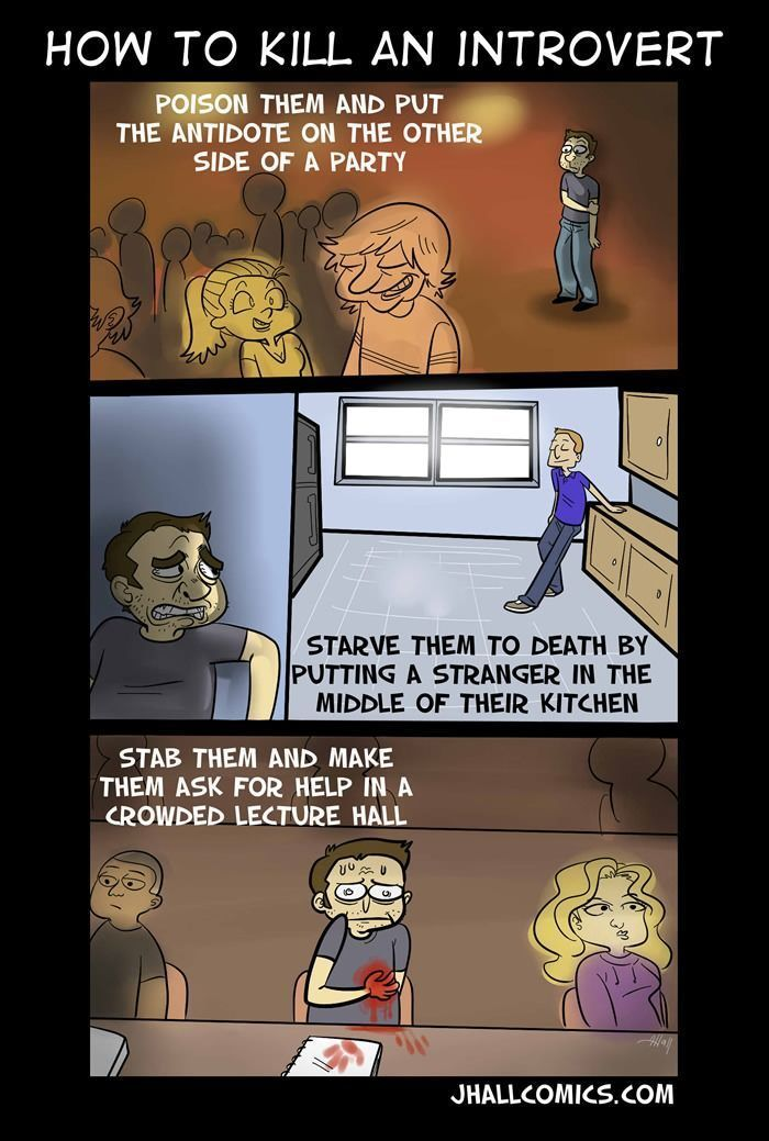 Sad but true... well... thats actually more like how to kill a person with social anxiety, than an introvert. Some introverts love being around people, they just feel drained and tired after a whil