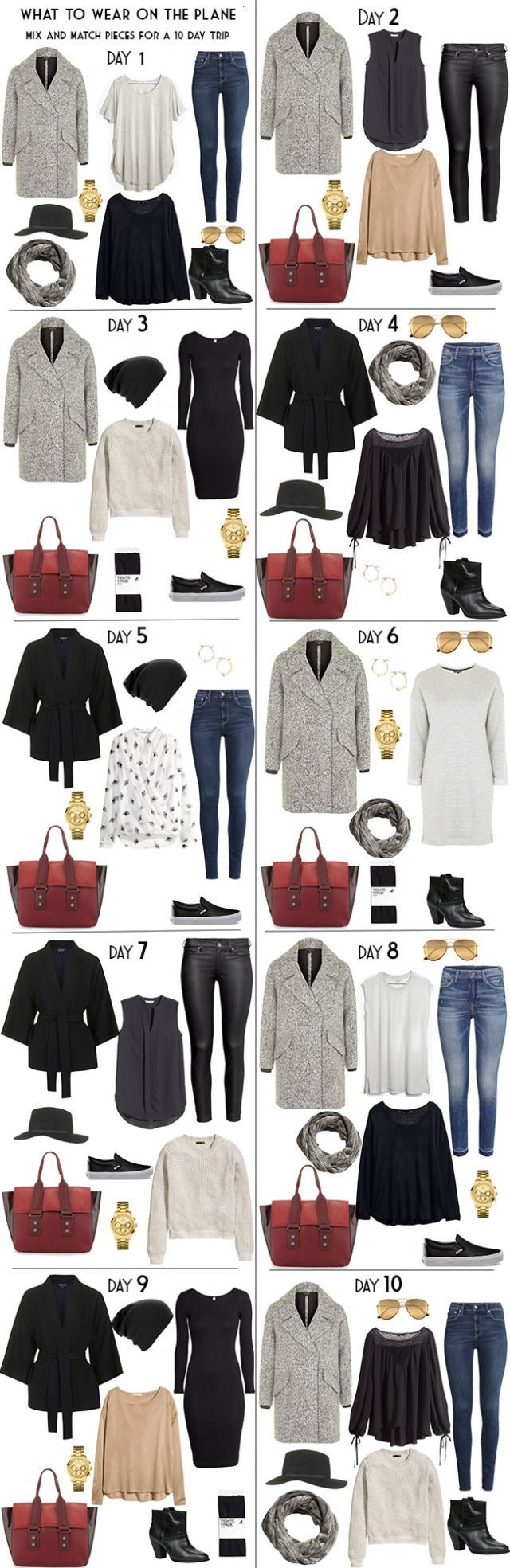 Packing Light. What to Pack for 10 Days in Vienna, Austria. 10 Day Outfit options, The 10 Night outfit options and the full packing list available on the Blog. #packinglight #travellight #packinglist #vienna