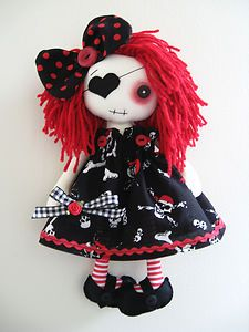 ooak doll gothic | OOAK-Handmade-Gothic-Punk-Emo-12-Pirate-Art-Artist-Cloth-Rag-Doll-Jack ...