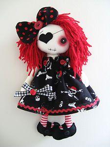 ooak doll gothic | OOAK-Handmade-Gothic-Punk-Emo-12-Pirate-Art-Artist-Cloth-Rag-Doll-Jack ...