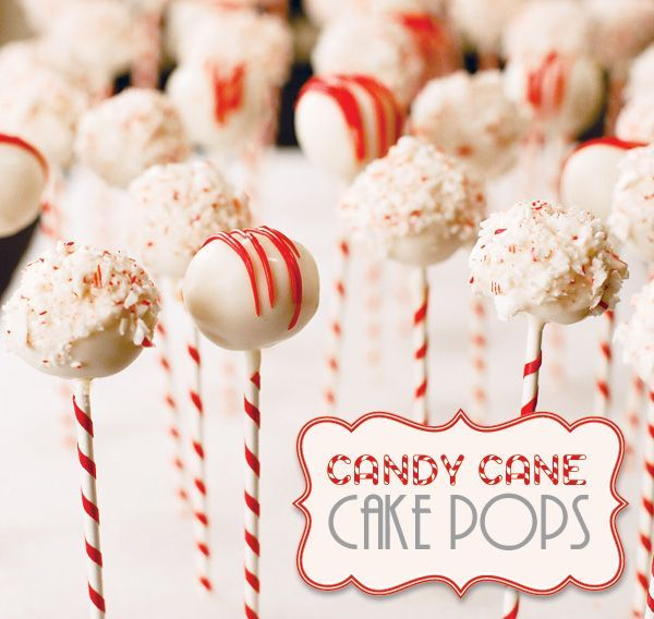 "Fun Holiday Treat: Candy Cane Cake Pops Like the idea of covering box with ""fake snow"" or pillow stuffing to look like mounds of snow! Cool!"