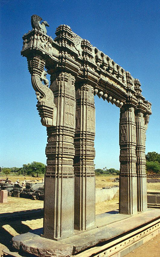 Close-up view of Kakatiya Kala Toranam [Warangal Gate] - This is a part of the ruins of the Warangal Fort built by King Ganapathi in 13th century and completed by his daughter Rudrama, Warangal Fort showcases the pride and power of the famous Telugu dynasty, the Kakatiyas, in 1261 A.D., Telangana, India.