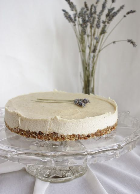 "Vegan -Lavender & Lemon ""Cheesecake"" - Crust:1/2 cup dates 1 1/2 cups nuts (I used soaked walnuts and almonds)Surround the inside of a cake pan with wax paper or plastic wrap.Process dates and nuts together until you get a rough, sticky mixture that you can pat down with your hands into the bottom of the cake pan."