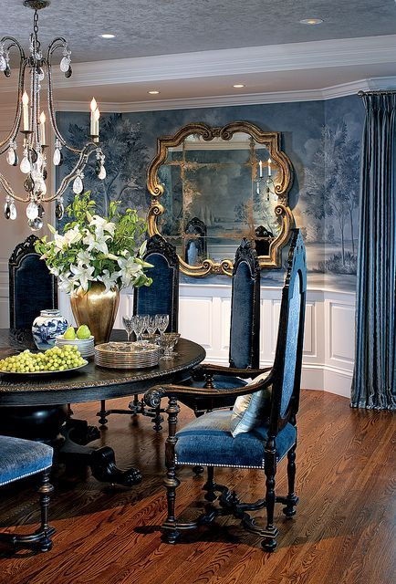 Gorgeous Kitchen Table And Chandelier Interior Design Glam Dining Room!  Nancy Hill Blue Dining Interior Design By Nancy Hill Interiors;