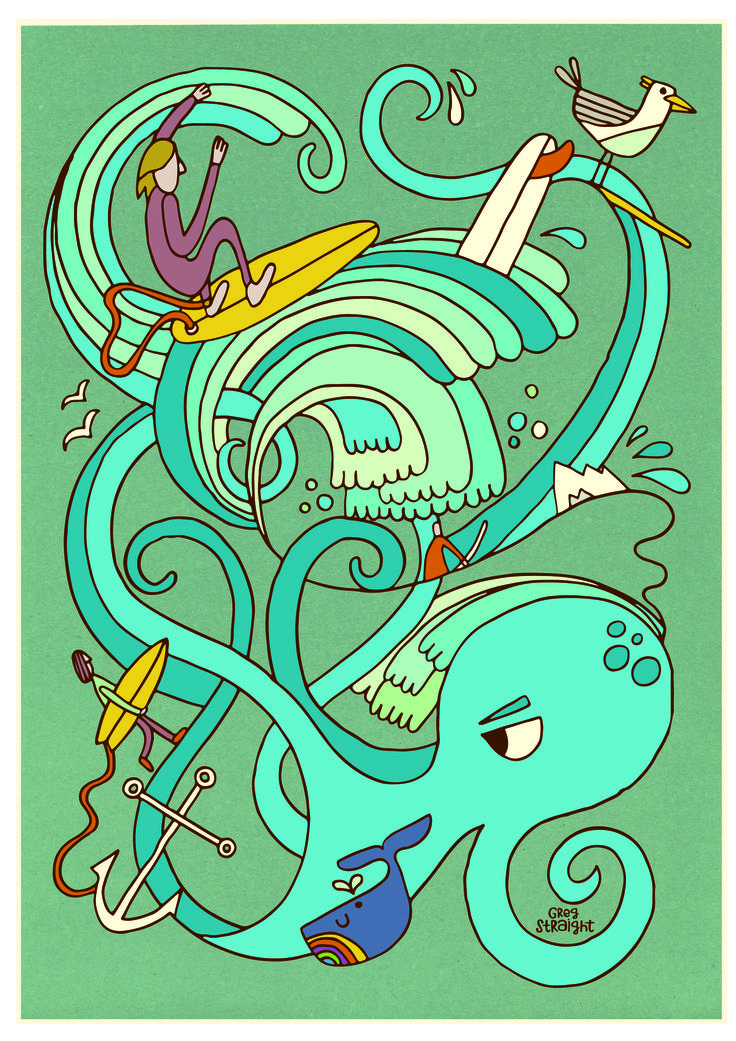 Octo surf illustration on paper.