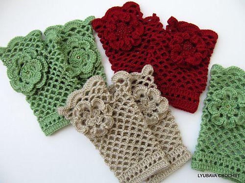 Ravelry: Fingerless Gloves With Flower Crochet Tutorial Pattern pattern by Lyubava Crochet
