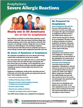 Anaphylaxis: Severe Allergic Reactions (Handout) by Kids With Food Allergies. This free two-page handout is filled with essential information about anaphylaxis, a severe allergic reaction that can be life-threatening.L M