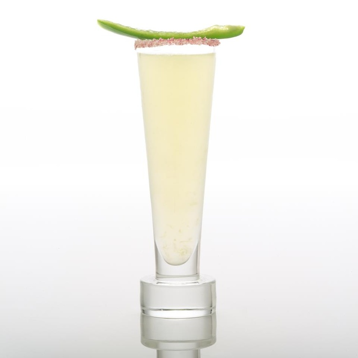 South of the Rio: 2 slices of cucumber 3/4 oz Junior Merino agave nectar 1/6 of seeded jalapeno 1 oz lime juice 2 oz cachaca or tequila blanco Muddle the cucumber, agave nectar and jalapeno then add the rest of the ingredients, add ice, shake and strain into a cocktail glass.