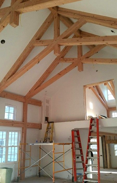 Scissor roof exposed scissor truss vaulted ceiling for Exposed trusses cost