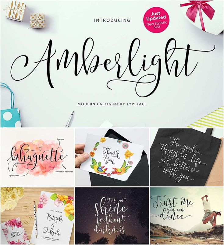 Description: Introducing Amberlight Script with a sweet calligraphy-style, decorative characters and a dancing baseline. Perfect for invitation like greeting cards, branding materials, business cards, quotes, posters, and more. For personal use. Free for download. File format: .otf, .ttf for Photoshop or other vector software. File size: 1 Mb.