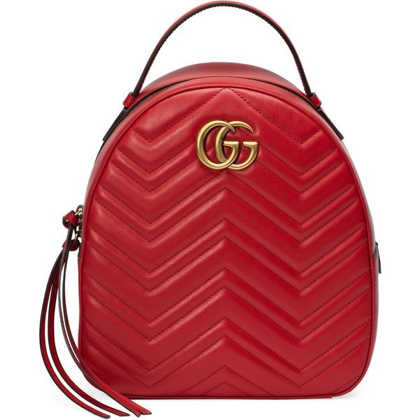 Gucci Gg Marmont Quilted Leather Backpack ($1,520) ❤ liked on Polyvore featuring bags, backpacks, handbags, red, women, zip backpack, top handle bags, chevron backpack, zipper bag and pocket backpack