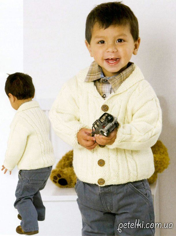 Белый жакет спицами для мальчика 1-2 лет. Описание