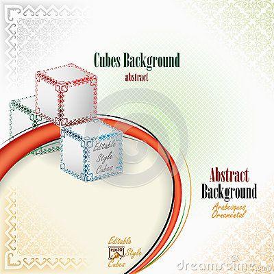 Three cubes in artistic design and elaborate arrangement
