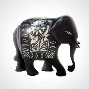 """Bidriware Elephant Artefact (7"""") 'Sheet work'   Alloy with silver inlaying   MRP-Rs.2500"""