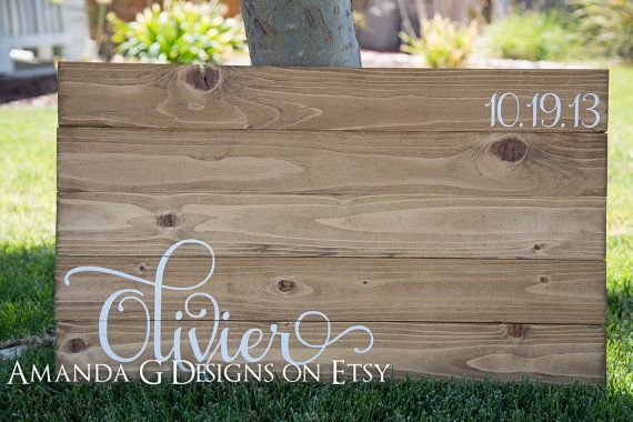 Personalized Unique Wood Sign Wedding Guest Book by AmandaGdesigns, $75.00