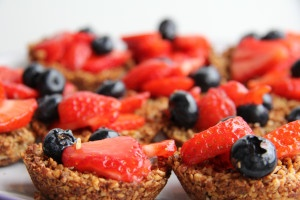 Strawberry and Blueberry Tarts with Ginger Nut Crust