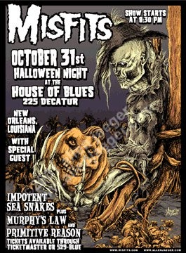 The Misfits live at the House Of Blues new orleans on Halloween night 2000. silkscreen by Allen Jaeger contact allen at mailto:allenjaegerartist@yahoo.com with interest to obtain. price - $140