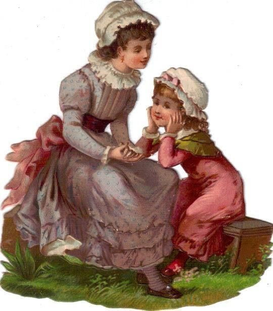 Larger Victorian Die Cut Scrap 2 Sisters in Garden c1880