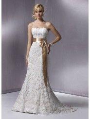 Lace Slim Strapless Scalloped Neckline A-line Wedding Dress