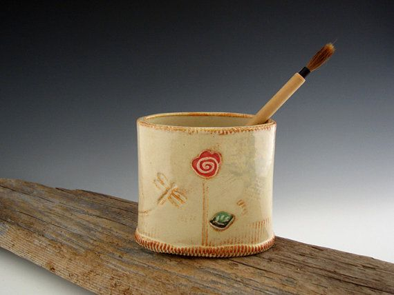 Oval Pencil Holder in Rustic White with by DirtKickerPottery, $35.00