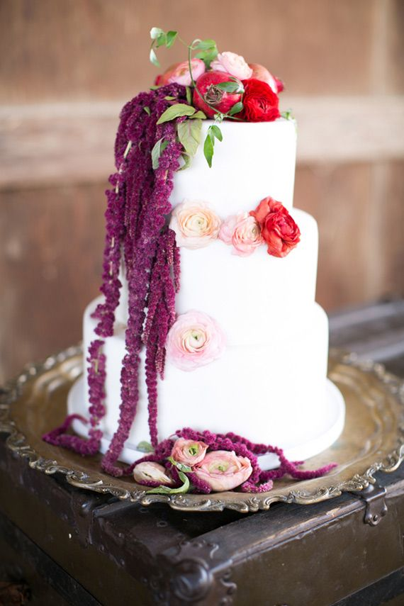 wedding cakes los angeles prices%0A Purple Cascading Blooms on White Cake