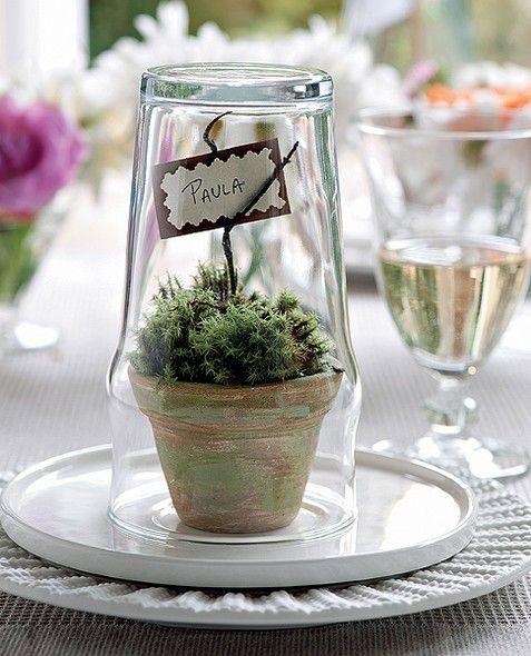 Marcando lugares à mesa... Um copo grande faz o papel de cúpula para o minivaso com musgo