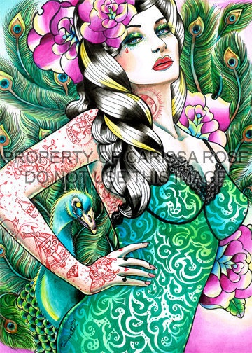 Tattooed Peacock Pin Up Art Print By Carissa Rose by NeverDieArt, $5.00