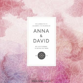 Floral wedding card in abstract style