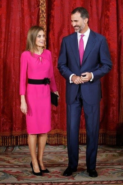 Queens & Princesses - King Felipe and Queen Letizia hosted a luncheon in honor of the president of Honduras and his wife at the Royal Palace in Madrid.