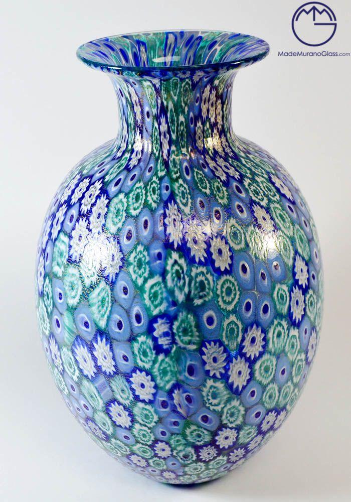 Oval #Murano #glass #vase with #Murrina #Millefiori and #gold #24k.--- #Vaso ovale in #vetro di #Murano con #Murrina Millefiori e #oro #24kt.