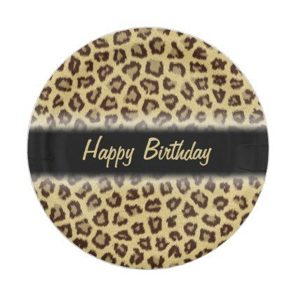 Leopard / Cheetah Print Custom Party Paper Plate - birthday gifts party celebration custom gift ideas diy