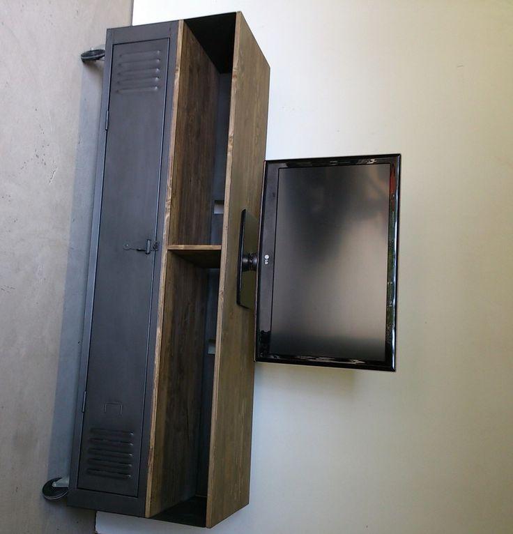 meuble tv acier bois ancien vestiaire renov indus. Black Bedroom Furniture Sets. Home Design Ideas