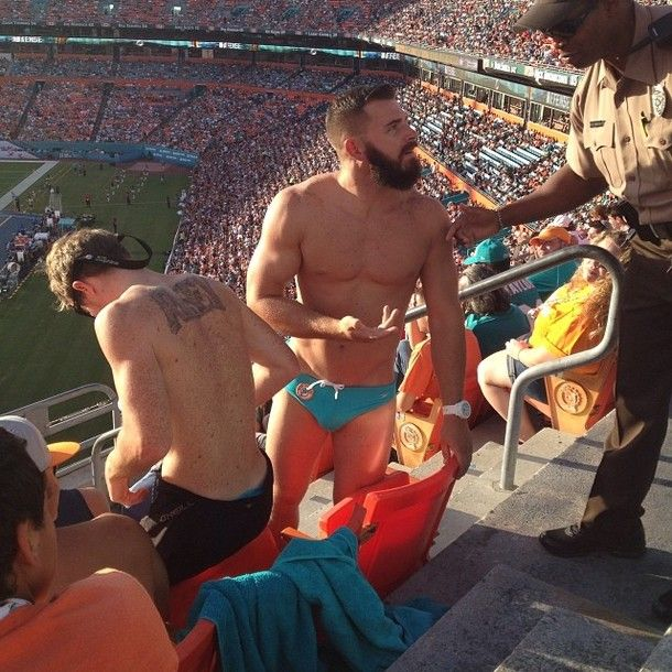 Miami Dolphins fan kicked out for wearing Speedo at the Stadium #funny #miami #dolphins #kicked #wearing #speedo #stadium #humor #comedy #lol