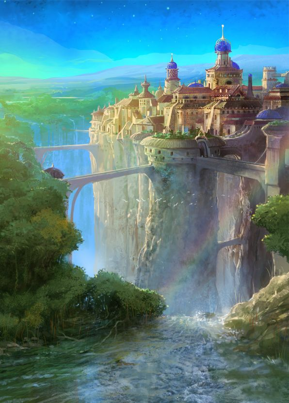 Waterfall Town by Rukkits