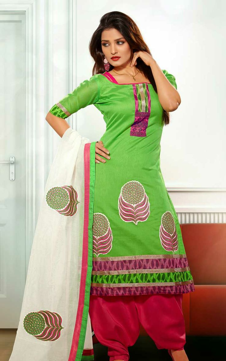 GREEN & PINK CHANDERI COTTON SALWAR KAMEEZ - RUD 33005A