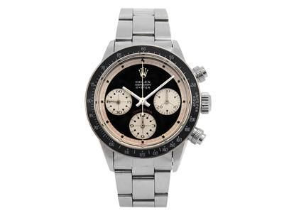 "ROLEX, Cosmograph Oyster, Daytona, s.c. ""Paul Newman"", ""Units per hour 200"", Ref no. 6263, Cal Valjoux 727, chronograph, men´s wristwatch, 37 mm, steel, manual winding, plastic crystal, Oyster bracelet, approx 1969. Item no: 1070464 - Kaplans Auktioner"