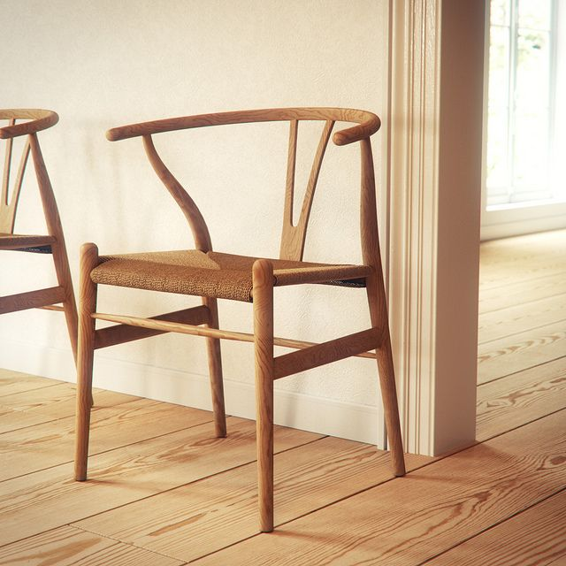 Hans Wegner designed the Wishbone Chair in 1949. This is one of his most iconic pieces of furniture, it is strong yet very lightweight. It is a very challenging chair to make as the legs are made of solid wood which is steam-bent. The seat is also made of hand-woven paper cord. The chair is made from very durable materials so that it will last for generations.