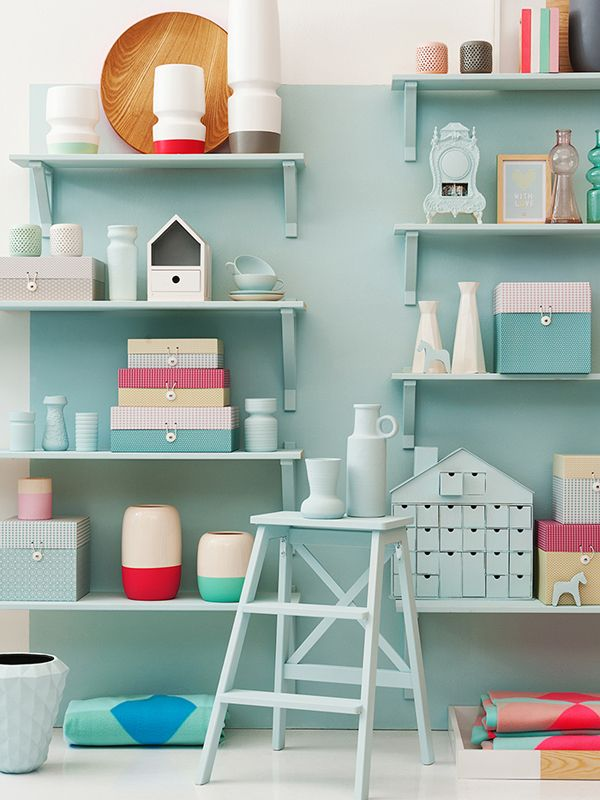 present time, love shelves and wall are same color, cute for kids' rooms