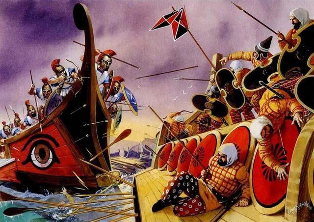 A Batalha de Salamina 480 aC, no estreito entre o continente e Salamis, uma ilha no Golfo de Salónica, perto de Atenas. Ele marcou o ponto alto da segunda invasão persa da Grécia, que tinha começado em 480 aC
