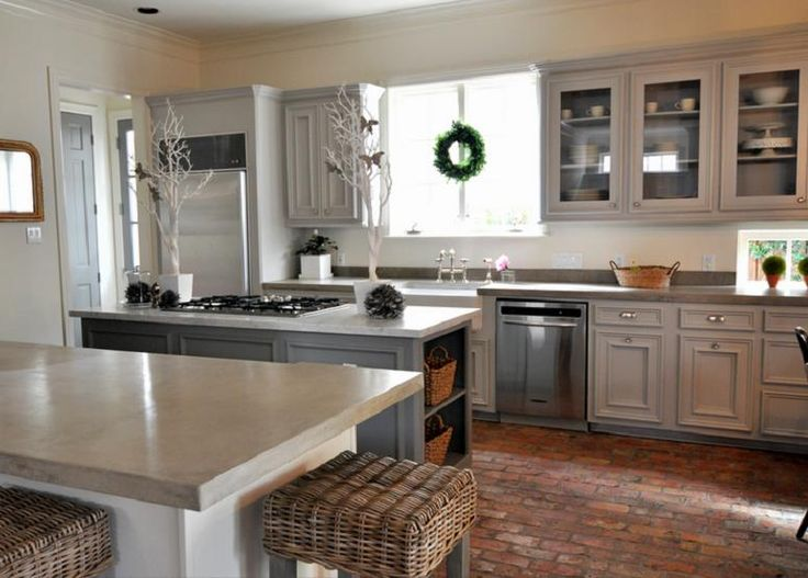 Kitchens on Pinterest  Islands, Gray cabinets and All white kitchen