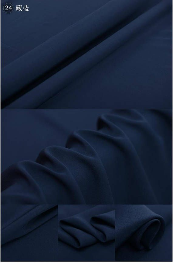 navy blue 100 silk crepe de chine 16mm solid fabric by the
