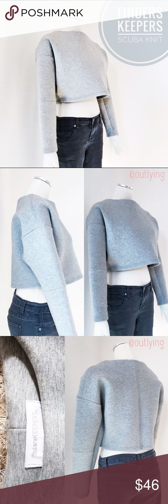 "FINDERSKEEPERS Scuba Knit Grey Crop Sweatshirt FINDERS KEEPERS THE LABEL Sample Size S Retail Price: $120 NWOT / Never Worn Length 16"" Bust 44"" Waist 36"" Structured scuba knit athleisure style, a la Balenciaga, pair with your fave high waisted skinnies or layer with a fitted lean tank underneath. Minimalist chic, forever modern. Finders Keepers the Label has evolved into one of the world's most sought after fashion labels for its effortlessly polished style. Since its inception in 2007 by…"