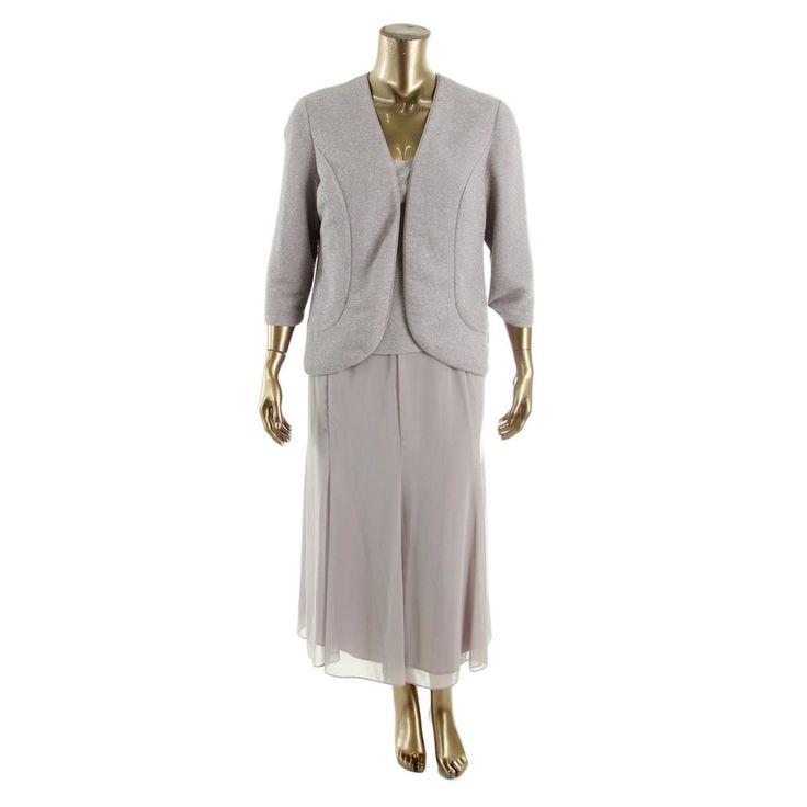Alex Evenings Womens Textured Metallic Evening Dress
