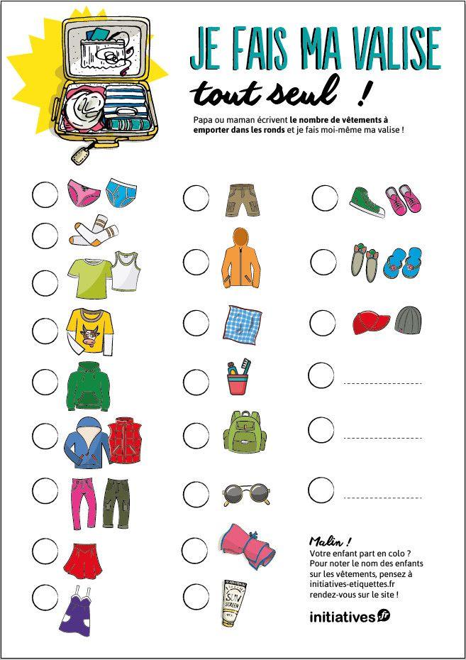 Alerte aux vacances ! Téléchargez la liste super pratique pour aider votre enfant à faire son sac lui-même.