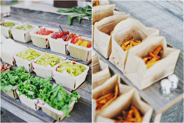 DIY burger bar, burger fixings in berry baskets, french fries in tiny paper bags